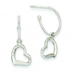Removable Heart Enhancer J-Hoop Earrings in 14k White Gold