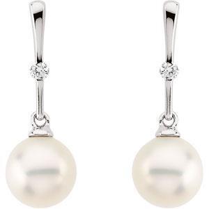 Pearl Diamond Earrings in 14k White Gold