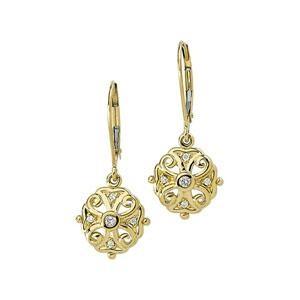 Diamond Filigree Earrings in 14k Yellow Gold (0.1 Ct. tw.) (0.1 Ct. tw.)