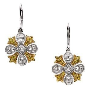 Natural Diamond Earrings in 14k Two-tone Gold (0.5 Ct. tw.) (0.5 Ct. tw.)