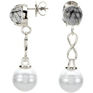 Pearl Tourmalinated Quartz Earrings in Sterling Silver