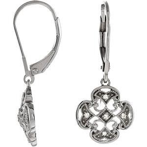 Diamond Leverback Earrings in Sterling Silver (0.07 Ct. tw.) (0.07 Ct. tw.)