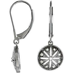 Diamond Leverback Earrings in Sterling Silver (0.1 Ct. tw.) (0.1 Ct. tw.)
