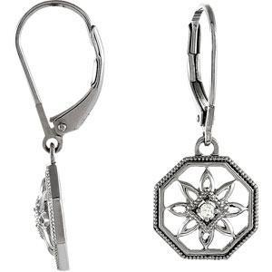 Diamond Leverback Earrings in Sterling Silver (0.04 Ct. tw.) (0.04 Ct. tw.)
