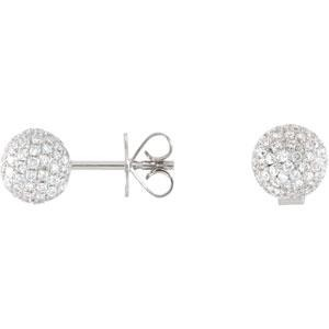 Diamond Pave Ball Earrings in 18k White Gold (1.16 Ct. tw.) (1.16 Ct. tw.)