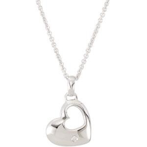 Diamond Heart Necklace in Sterling Silver (0.01 Ct. tw.) (0.01 Ct. tw.)