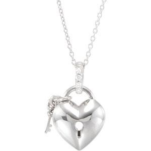 Diamond Heart Necklace in Sterling Silver (0.05 Ct. tw.) (0.05 Ct. tw.)