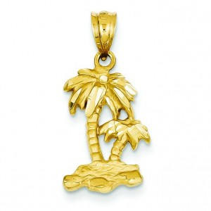 Diamond Cut Palm Trees Pendant in 14k Yellow Gold