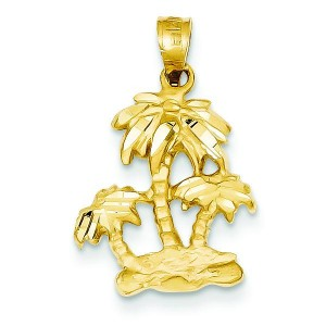 Diamond Cut Open Backed Palm Trees Pendant in 14k Yellow Gold