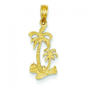 Double Palm Trees Pendant in 14k Yellow Gold