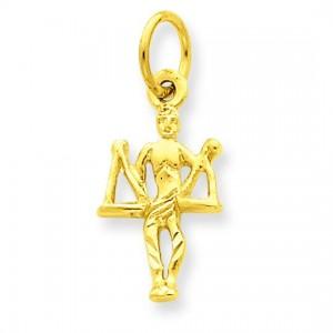 Libra Zodiac Charm in 14k Yellow Gold