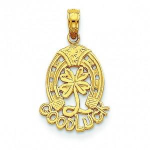 Good Luck Horseshoe Clover Pendant in 14k Yellow Gold