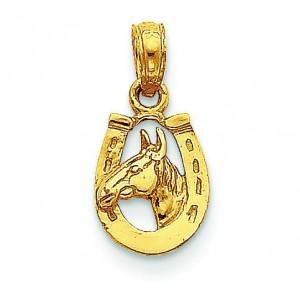 Horseshoe Horse Head Pendant in 14k Yellow Gold
