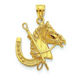 Horse Head Horseshoe Pendant in 14k Yellow Gold