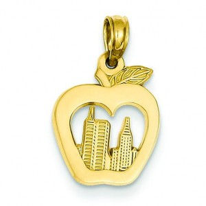 New York Skyline In Apple Pendant in 14k Yellow Gold