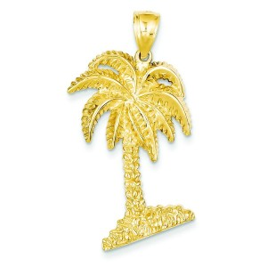 Large Palm Tree Pendant in 14k Yellow Gold
