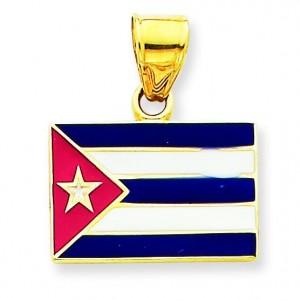Cuba Flag Pendant in 14k Yellow Gold