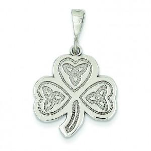 Trinity Clover Pendant in 14k White Gold
