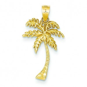 Mini Palm Tree Pendant in 14k Yellow Gold
