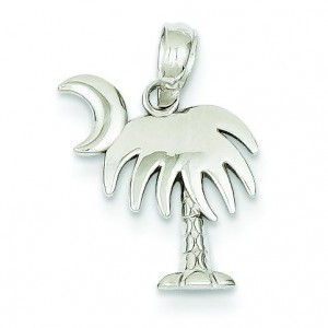 Small Charleston Palm Tree Moon Pendant in 14k White Gold