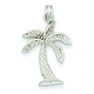Palm Tree Pendant in 14k White Gold