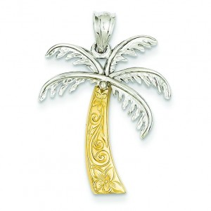 Palm Tree Pendant in 14k Two-tone Gold