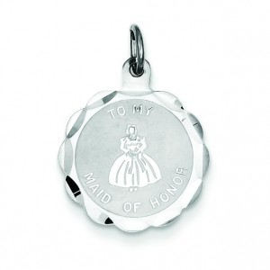 To My Maid Of Honor Disc Charm in Sterling Silver