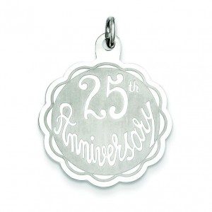 25th Anniversary Disc Charm in Sterling Silver