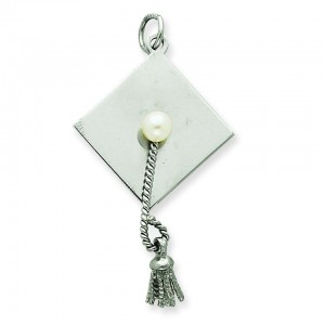 Graduation Cap Cultured Pearl Charm in Sterling Silver