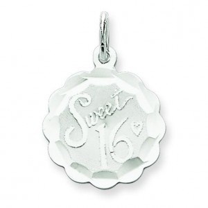 Sweet Sixteen Disc Charm in Sterling Silver