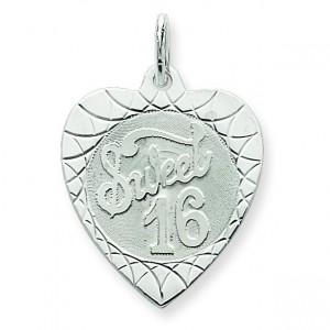Sweet Sixteen Heart Disc Charm in Sterling Silver