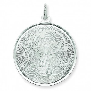 Happy Birthday Disc Charm in Sterling Silver
