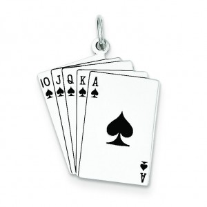 Playing Cards Charm in Sterling Silver