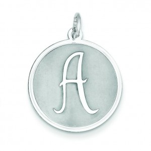 Brocaded Initial A Charm in Sterling Silver