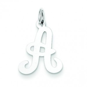 Initial A Charm in Sterling Silver