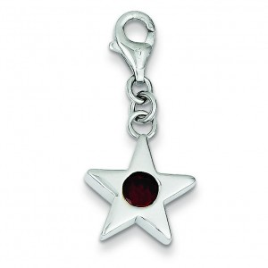 January CZ Birthstone Star Charm in Sterling Silver