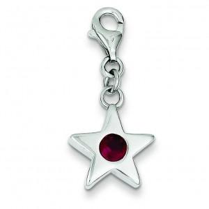 July CZ Birthstone Star Charm in Sterling Silver