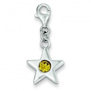 November CZ Birthstone Star Charm in Sterling Silver