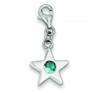 December CZ Birthstone Star Charm in Sterling Silver