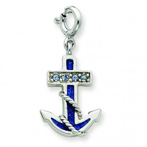 Blue Anchor Crystals Charm in Sterling Silver