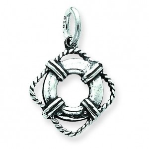 Antiqued Life Preserver Charm in Sterling Silver