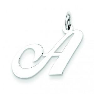 Medium Fancy Script Initial A Charm in Sterling Silver