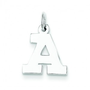 Small Block Initial A Charm in Sterling Silver