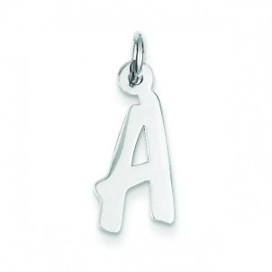 Medium Initial A Charm in Sterling Silver