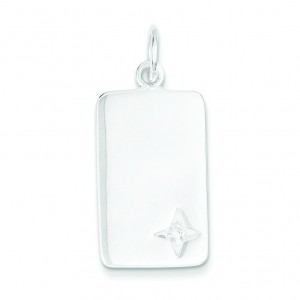 CZ Rectangle Charm in Sterling Silver