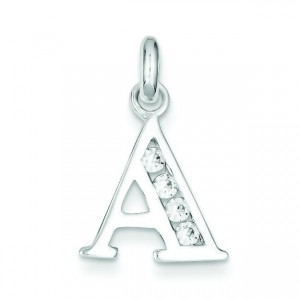 White CZ Initial A Pendant in Sterling Silver