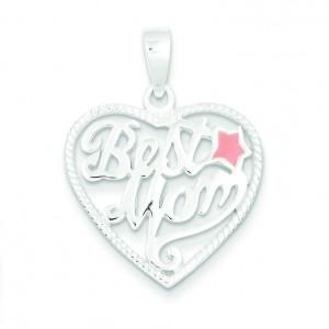 Best Mom Heart Pendant in Sterling Silver