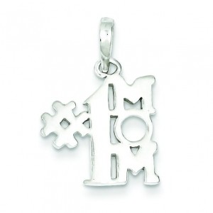 Number One Mom Pendant in Sterling Silver