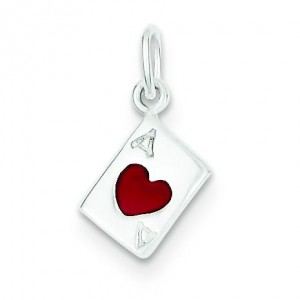Ace Of Hearts Card Charm in Sterling Silver