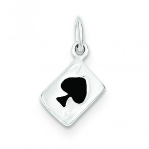 Ace Of Spades Card Charm in Sterling Silver